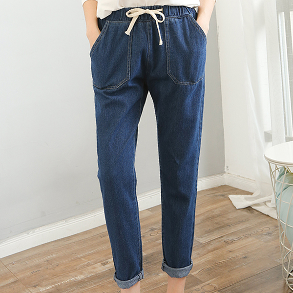 Elastic Waist Narrow Bottom Denim Jeans - Dark Blue