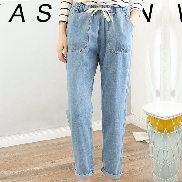 Elastic Waist Narrow Bottom Denim Jeans - Blue