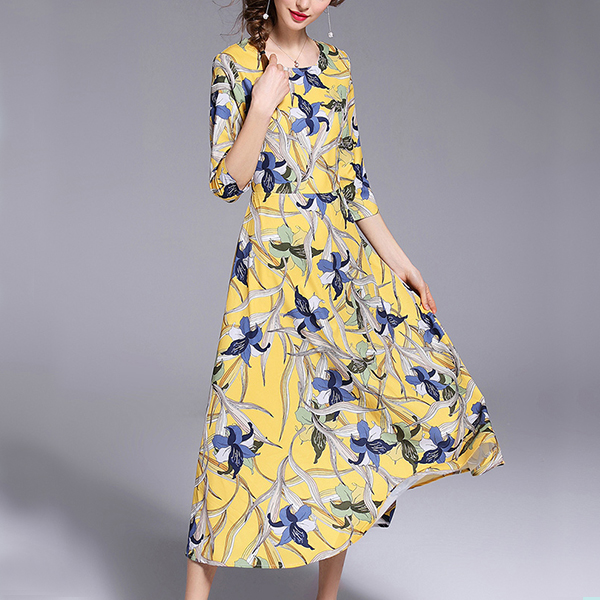 Colorful Prints Round Neck Midi Dress