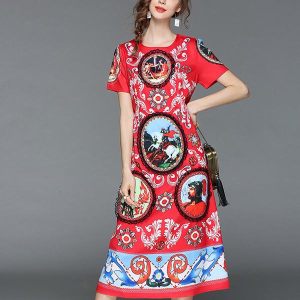 Retro Printed Multi Shade Party Dress