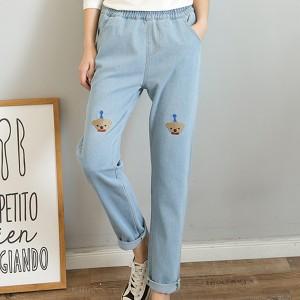 Thread Art Narrow Bottom Elastic Denim Trousers - Blue