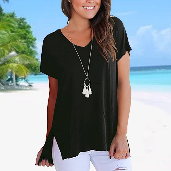 Solid Color V Neck Casual T-Shirt - Black