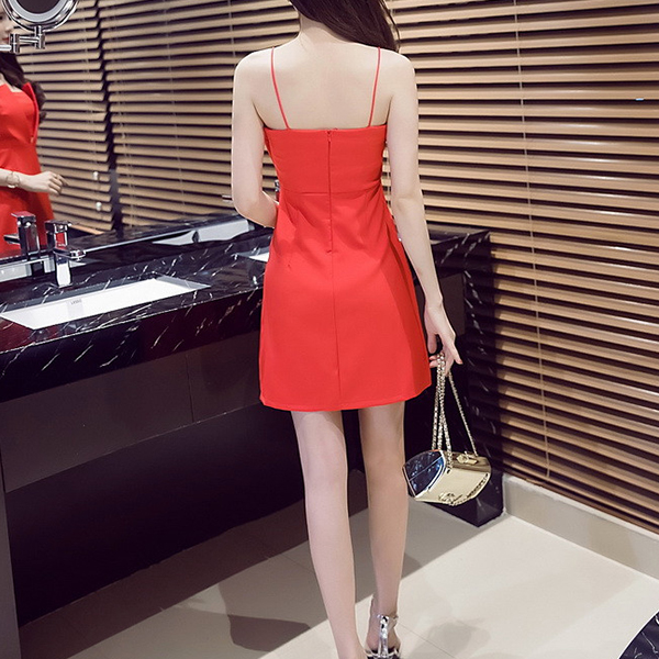 Tube Top Backless Short Party Wear Dress - Red