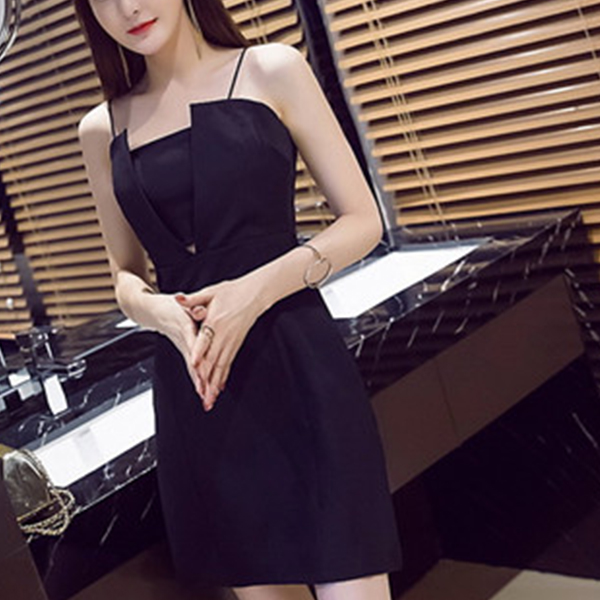 Tube Top Backless Short Party Wear Dress - Black