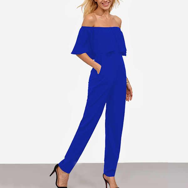Ruffle Off Shoulder Long Romper Dress - Blue
