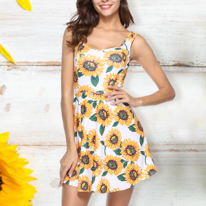 Sun Flower Prints Mini Beach Dress