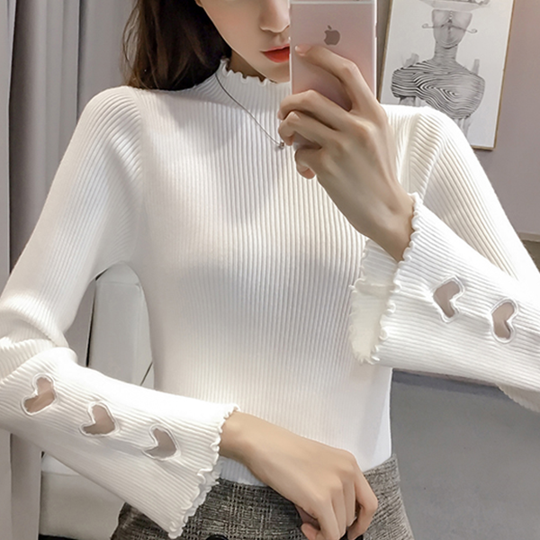 Hearts Cut Out Long Sleeved Ribbed T-Shirt - White