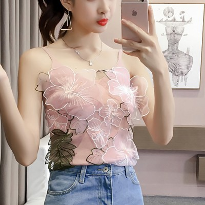 Floral Lace Patched Strap Shoulder Beach Top - Pink