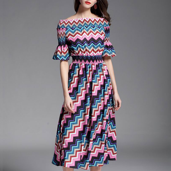 Boho Colorful Prints Off Shoulder Dress