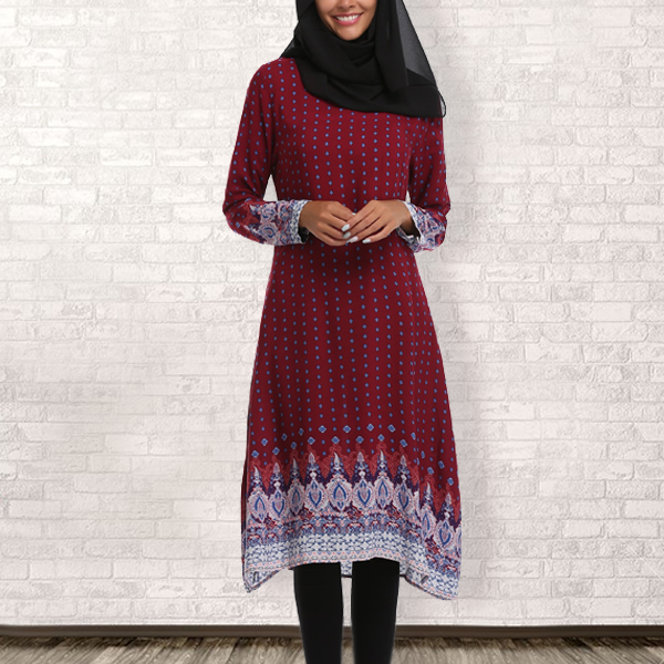Bohemian Printed Full Sleeves Muslim Dress - Burgundy