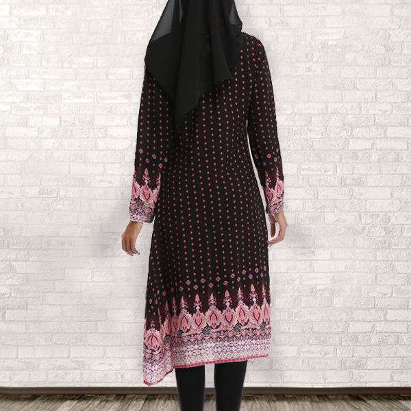 Bohemian Printed Full Sleeves Muslim Dress - Black