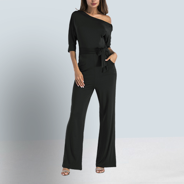 Knotted Waist Slash Neck Romper Dress - Black