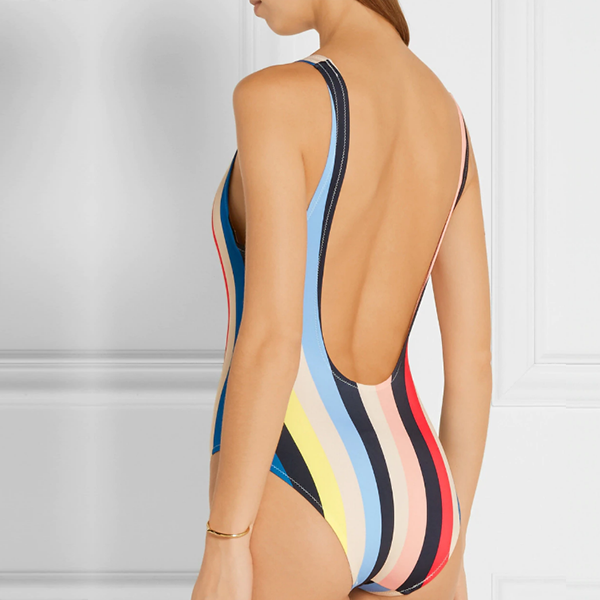 Rainbow Stripes Fitted Swimsuit - Multicolor