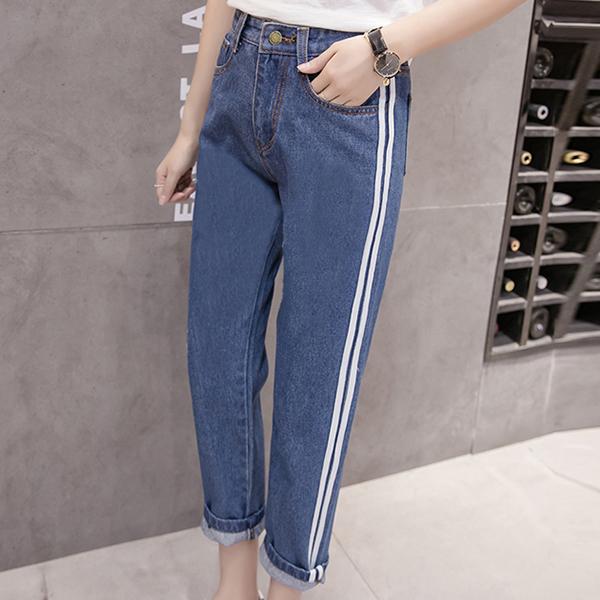 Thread Art Narrow Bottom Elastic Denim Trousers - Dark Blue