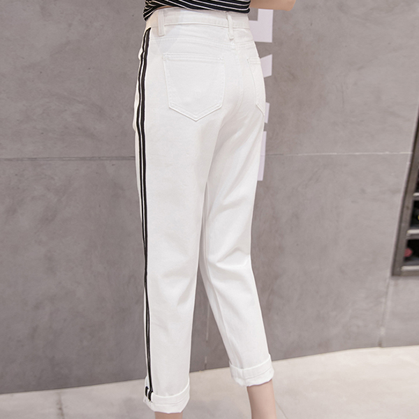 Button Closure Denim Straight Style Trousers - White