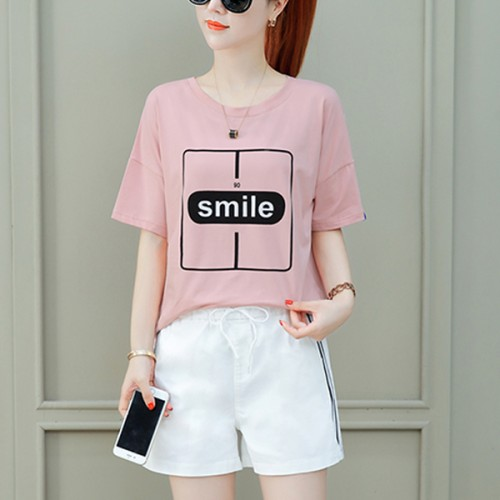 T-Shirt With Shorts Bottom Two Piece Suit - Pink