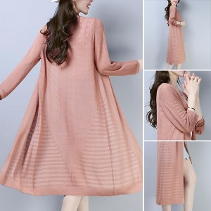 Lining Textured Open Outwear Long Cardigan - Pink