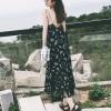 Backless Printed Summer Wear Long Dress - Black