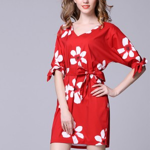 V Neck Knotted Sleeves Mini Casual Dress - Red