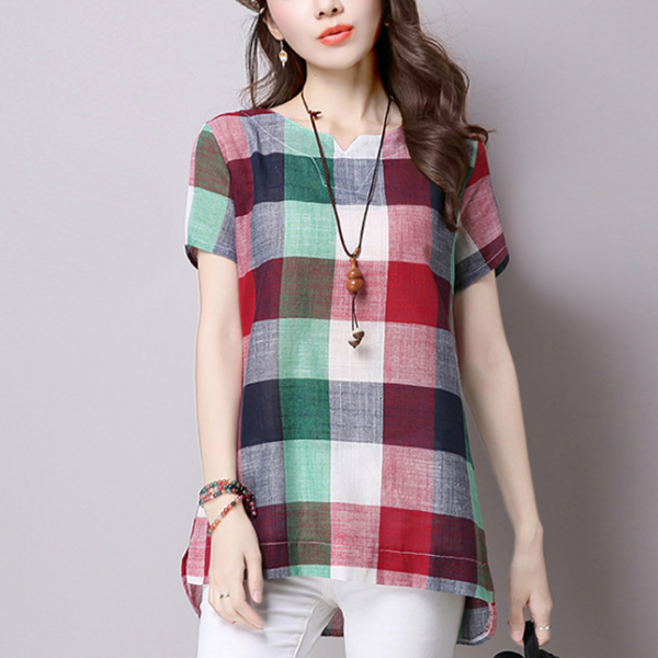 Multiple Check Prints Short Sleeves Shirt - Multicolor