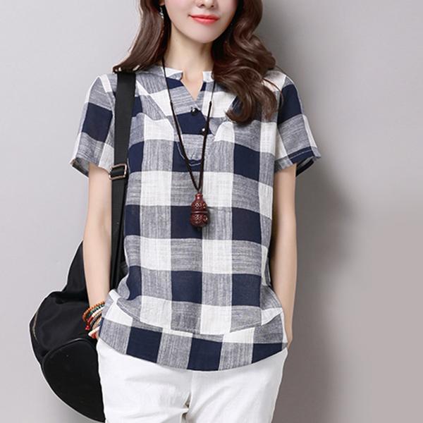 Checks Printed Short Sleeves Flounce Shirt - Dark Blue