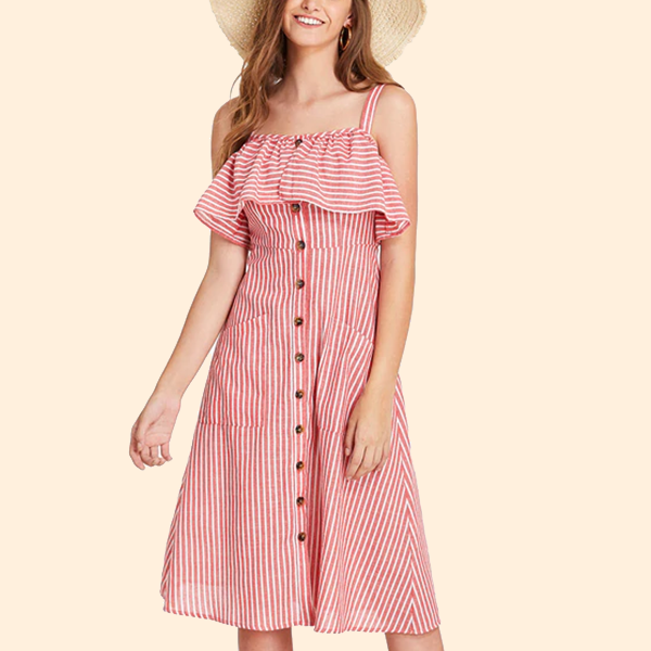 Strap Shoulder Stripes Flounced Dress