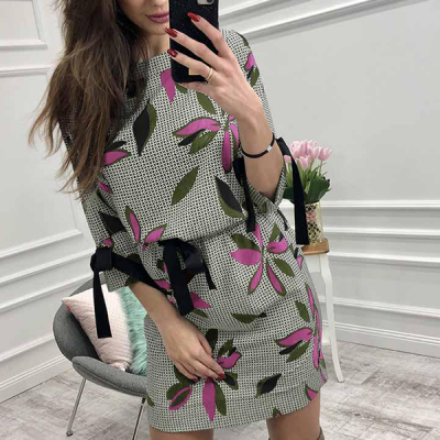 Pattern Prints Waist Knot Mini Dress - Green