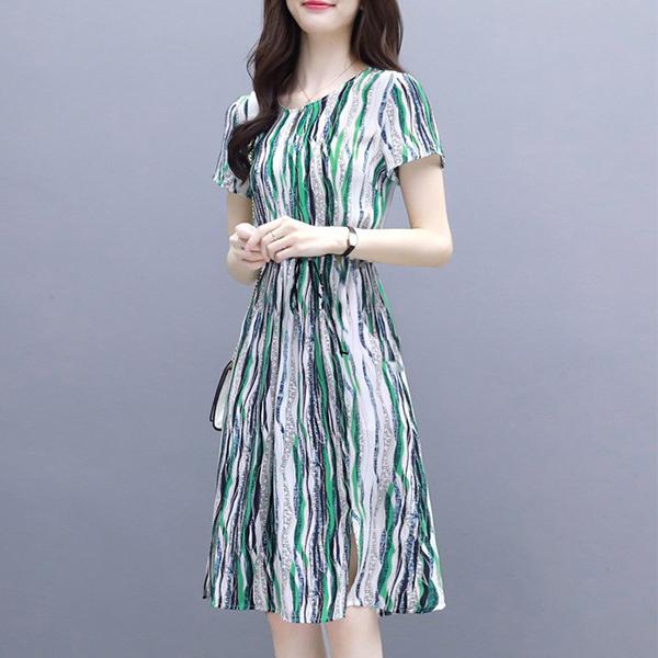Printed Waist Band Striped Pattern Mini Summer Dress