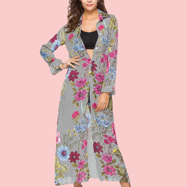 Boho Prints Full Length Beach Cardigan