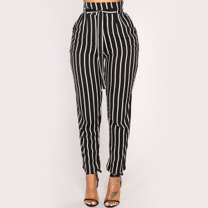 Waist Band Stripes Printed Casual Trousers - Black