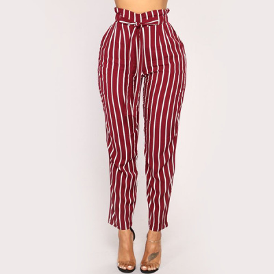 Waist Band Stripes Printed Casual Trousers - Burgundy