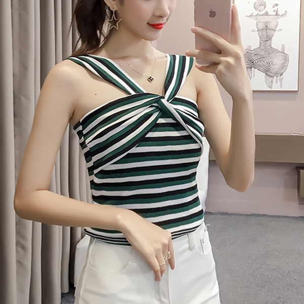 Stripes Cross Bust Knotted Easy Fit T-Shirt - Green