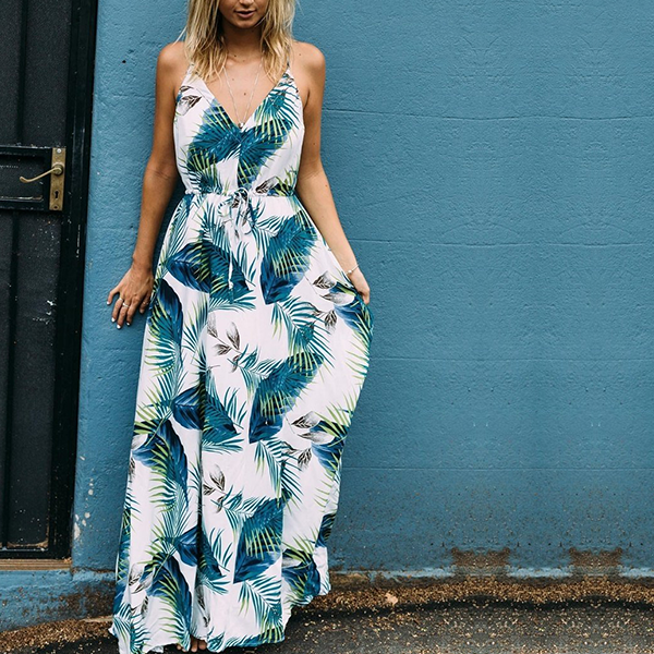 Leaves Printed Strap Shoulder Beach Maxi - Green