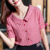 Loose Shirt Collar Small Check Prints Shirt
