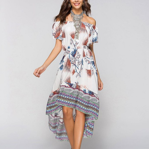 Boho Prints Off Shoulder Irregular Midi Dress