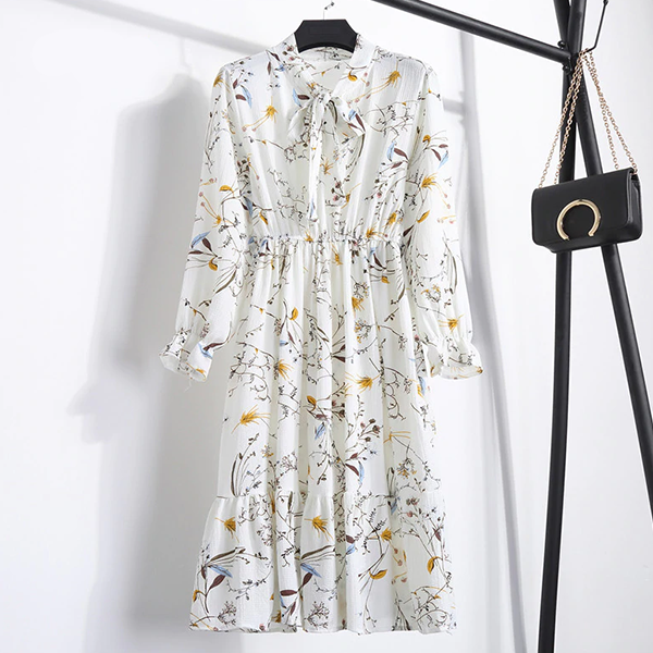 Elastic Waist Floral Knotted Neck Printed Dress