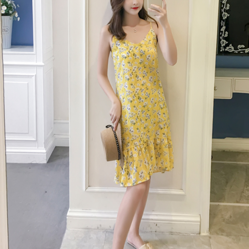 Printed Strapped Shoulder Retro Mini Dress - Yellow Floral