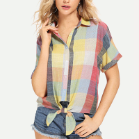 Button Up Knotted Shirt Collar Top - Multicolor
