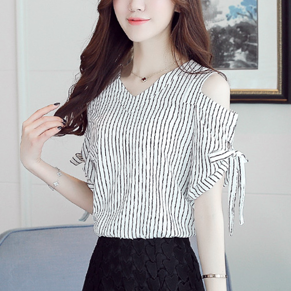 Cold Shoulder V Neck Stripes Half Sleeves Shirt - White