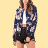 Bird Prints Zipper Closure Casual Jacket - Blue