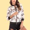 Bird Prints Zipper Closure Casual Jacket - White
