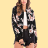 Bird Prints Zipper Closure Casual Jacket - Black