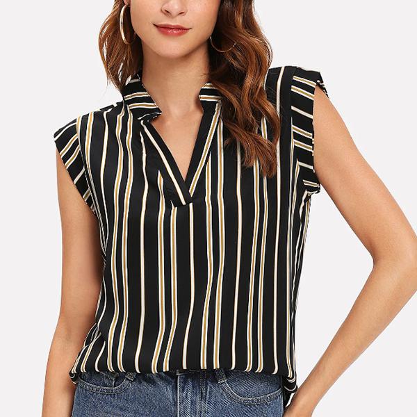 Cap Sleeves V Neck Stripes Blouse Shirt