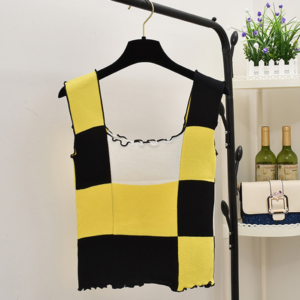 Flared Sleeves Colorful Patched Casual Top - Yellow