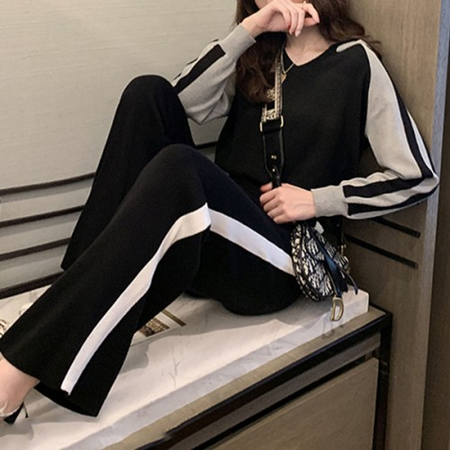 Hoodie Casual Sports Two Piece Summer Suit - Black