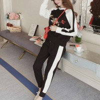 Two Pieces Sports Bottom Pants With T-Shirt - Black And White