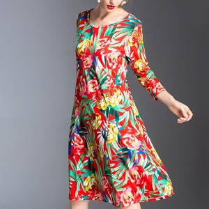 Floral Prints Quarter Sleeves Casual Mini Dress
