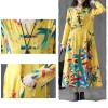 Casual Wearing  Floral Printed V Neckline Dress - Yellow