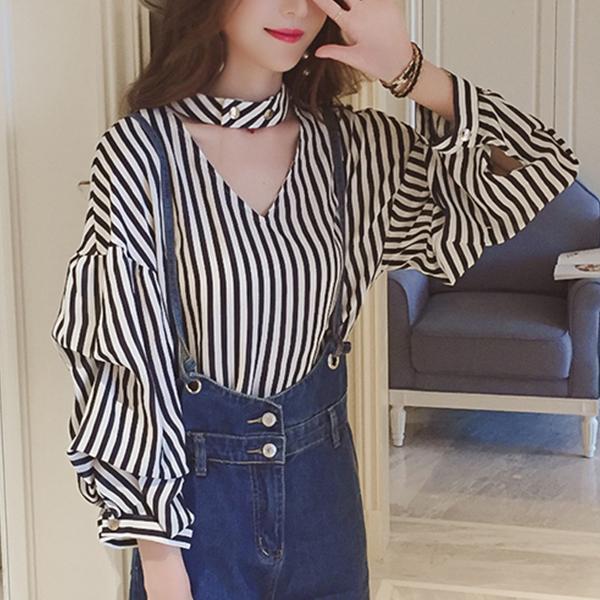Halter V Neck Striped Blouse Shirt - Black
