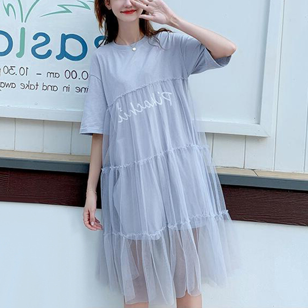 Flares Pleated Net Ruffled Hem Summer Dress - Sky Blue